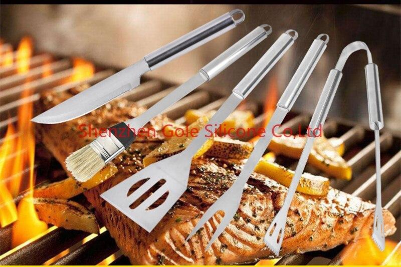 Mioke Outil de Barbecue Set en Acier Inoxydable Ustensiles De Barbecue pour Grillades,3pack Accessoires Barbecue en Acier Inoxydable