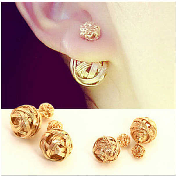 Hot Selling Two Gold Ball Stud Earrings Double Sides Pearl Earring For Girls Jewelry