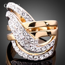 Chran New Arrival Fashion Gold Color Sparkling Crystal Rings for Women Hollow Design Engagement Jewelry Ladies Gifts