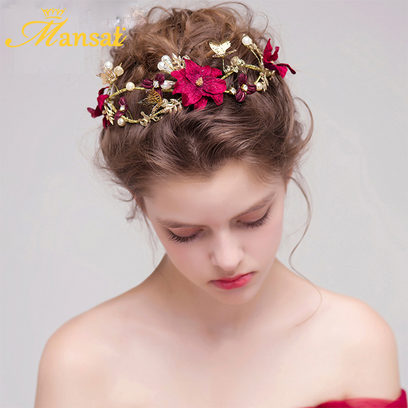 2017 vintage women wine red flower headband handmade simulated pearls hairband butterfly hair jewelry wedding accessories
