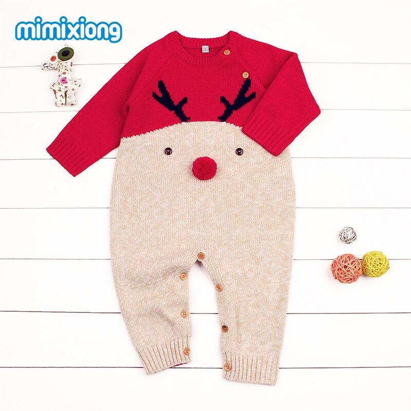 Babies Christmas Reindeer Romper z długim rękawem Nowonarodzone - Odzież dla niemowląt - Zdjęcie 5