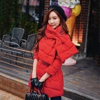 Dabuwawa пуховик зима Для женщин 2018 новые толстые теплые Красный нагрудник воротник пояса пуховик Для женщин зимняя куртка