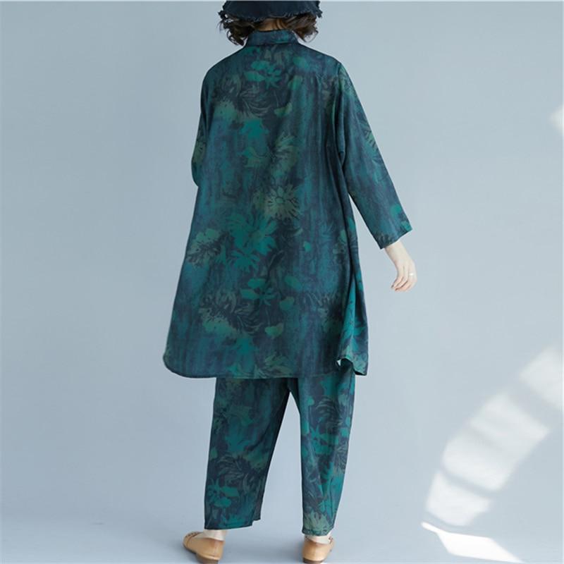 D'été Color Rétro Lâche Longue Ouverte Large Mode H00545 Chemise Bas Pantalon Floral Printemps De Grande Photo Femmes En Et Costume Taille Nouvelle Littéraire BCnw05xfq