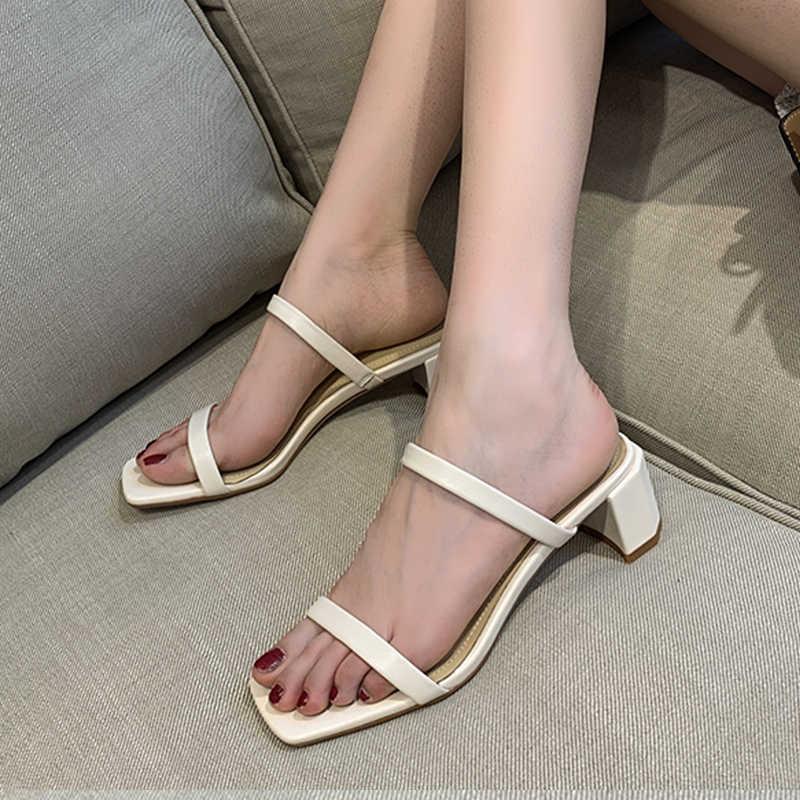 Wetkiss chinelos de pele de carneiro das mulheres de salto alto slides sapatos mules concisas sapatos senhoras moda sapatos de casamento feminino verão 2019