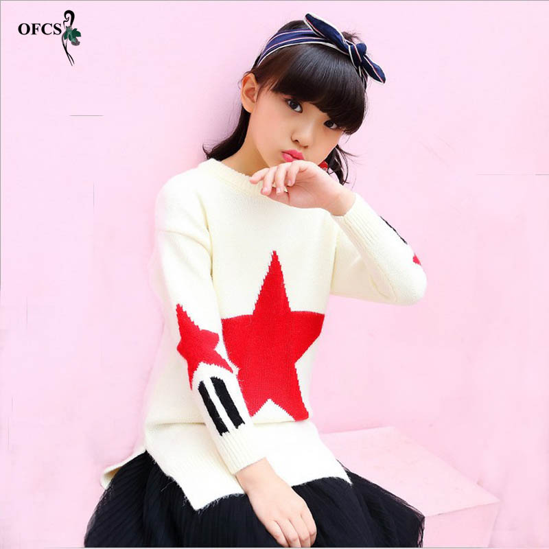 OFCS Autumn Star Embroidered Girls Sweater Casual Warm Baby Knitted Kids Pullovers Sweaters Children Clothing Open Fork Jumper