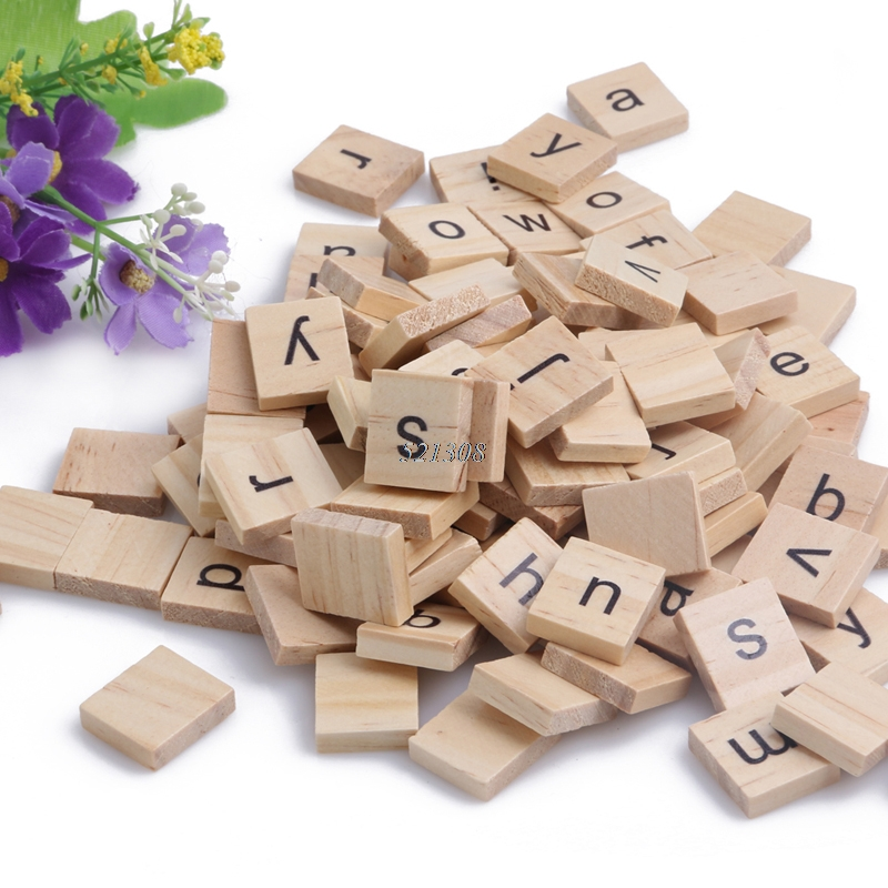 2017 Wooden Alphabet Scrabble Tiles Black Letters For Crafts Wood New 100PCS FEB17 30