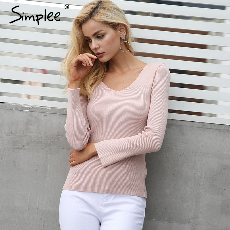 Simplee Sexy backless lace up knitting pullover top Fashion slit cuff  autumn winter sweater women Chic pink jumper pull femme - TakoFashion -  Women s ... ea6f15681