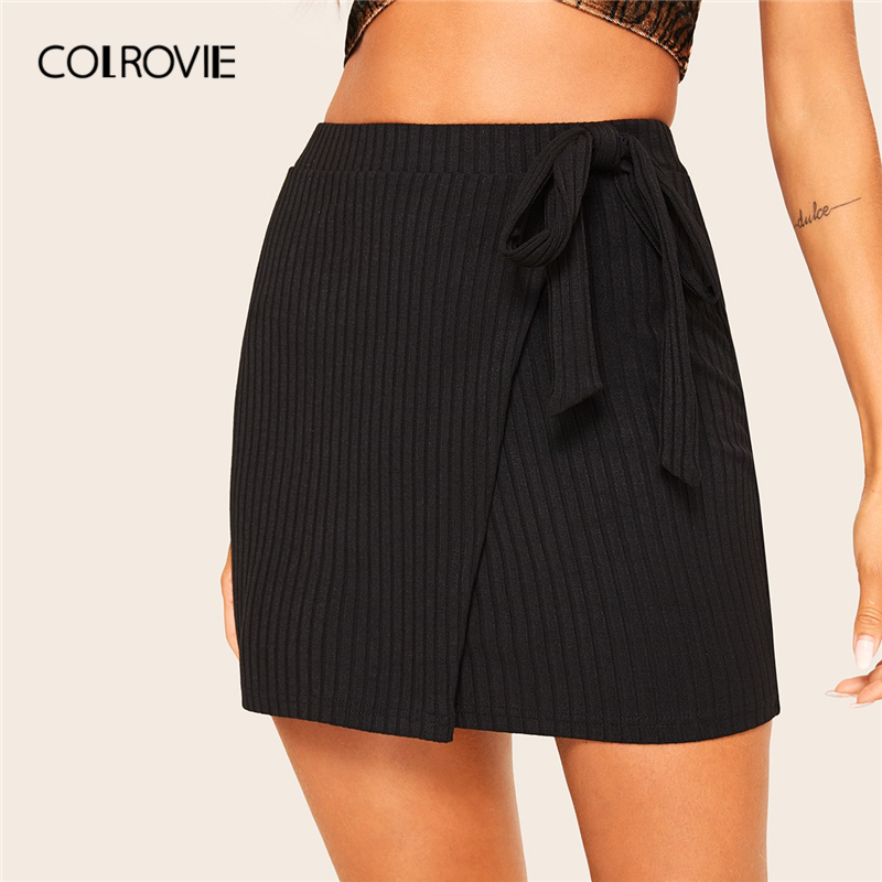 COLROVIE Black Solid Wrap Belted Rib-Knit Fitted Skirt 2019 Spring Summer Pencil Office Lady Skirts For Women Sheath Mini Skirt