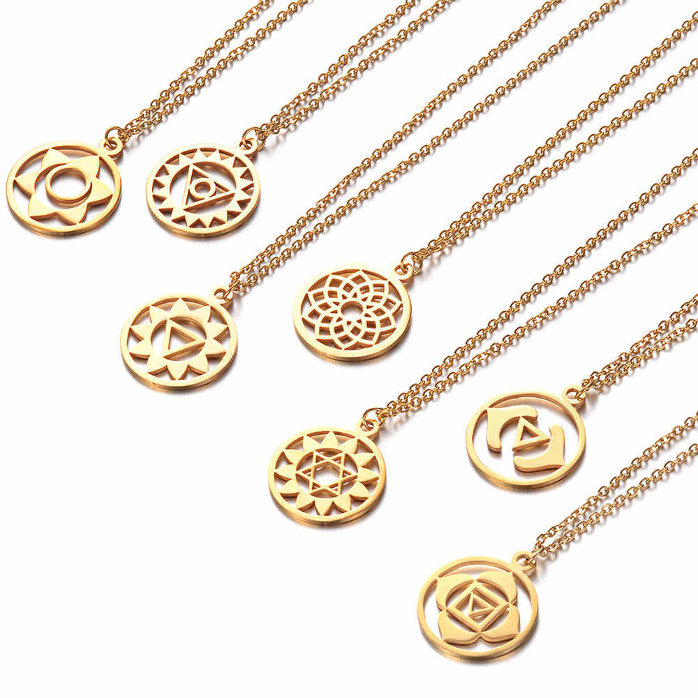 High Quality Stainless Steel Gold Color 7 Chakra Meditation Round Charms Pendants Necklaces For Women Jewelry Gift 40cm