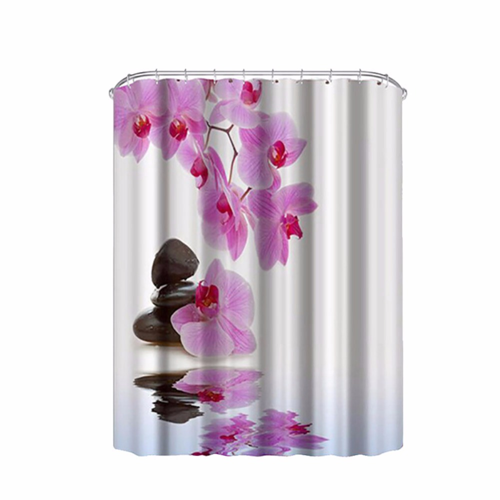 Purple flower design bathroom shower shower curtains for Floral bath accessories
