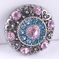 New KZ1273 Beauty Round Retro Rhinestone hearts pattern 18MM Metal giner snap button for DIY snap jewelry  wholesale