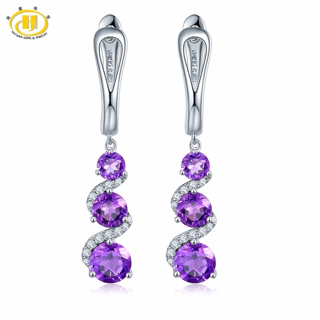 Hutang Clip Earrings 2 83ct Natural Gemstone African Amethyst Solid 925 Sterling Silver Fine Stone Jewelry