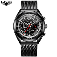 2018 New Famous Brand LIGE Casual Geneva Quartz Watch Men Mesh Stainless Steel  XFCS Watches Waterproof Relogio Masculino
