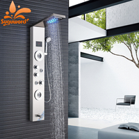 Household Bathroom Shower Faucet Set LED Display Temperature Screen Massage SPA Jet Three Handles Mixer Tap Sink Faucet Set