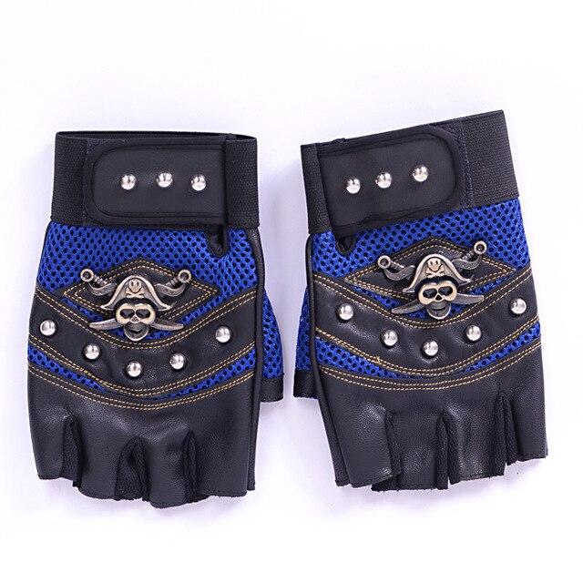 Long Keeper Skulls Rivet PU Leather Fingerless Gloves Men Women Fashion Hip Hop Women's Gym Gloves Half Finger Men's Gloves 4