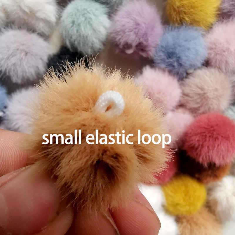 2.5 cm 3 cm 3.5 cm 4 cm 1 pc pequeno pom pom artificial vison bola de pele artesanal para diy chaveiros para meninas brincos acessórios sapatos pano
