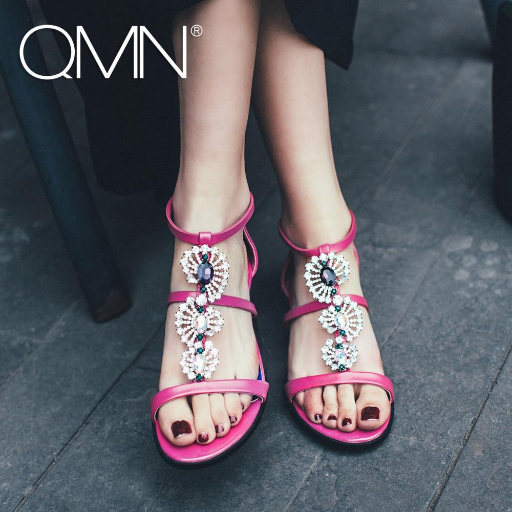 ФОТО QMN women genuine leather sandals Women Crystal Jewel Embellished Flat Heel T-Strap Summer Leisure Shoes Woman Leather Sandals