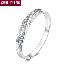 Top Quality Simple Cubic Zirconia Lovers Rose Gold Color Wedding Ring Jewelry Full Sizes Wholesale ZYR314 ZYR317