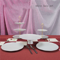 Cake Stand Set 5 Pieces White Cupcake Display Tool For Wedding Cake Candy Plate Party Event