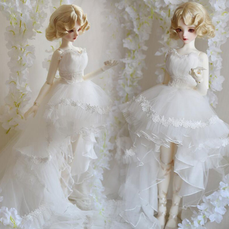 NEW Classics White Lace Trailing Wedding dress 1/3 1/4 BJD SD MSD Doll Clothes new black lace evening dress with sequins for bjd girl 1 3 1 4 msd doll clothes
