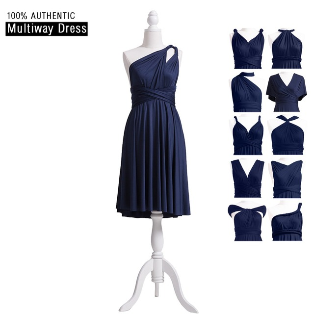 a4e3f6a31c1 Navy Blue Bridesmaid Dress Infinity Short Dress MultiWay Convertible Prom  Dress Knee Length Wrap Dress With One Shoulder Style
