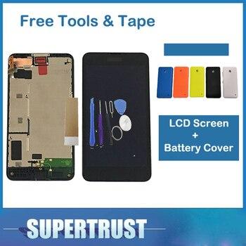 עבור Nokia Lumia 630 N630 RM-976 RM-977 RM-978 RM-979 LCD תצוגת מסך מגע Digitizer עם מסגרת עם סוללה כיסוי עם כלים