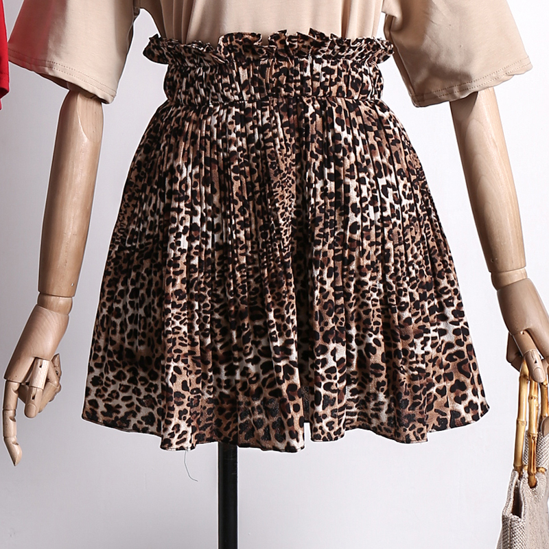 2018 New Style Summer Female Fashion Leopard Print Skirt Women High Wait Pleated Chiffon ...