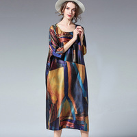 Plus size dresses loose Elegant dress High waist crew neck Pure silk print dress Summer new Big yards oversize Long dress