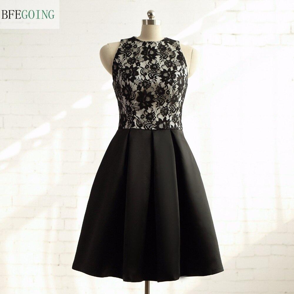Black Satin A-line Formal   Bridesmaid     Dress   Knee-Length Sleeveless Real/Original Photos Custom made