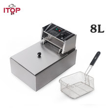 8L Electric Deep Fryer 110V/220V Stainless Steel Frying Machine Commercial Or Household Fryer CE certificate ce 2 tanks 16l electric deep fryer stainless steel frying machine commercial or household fryer