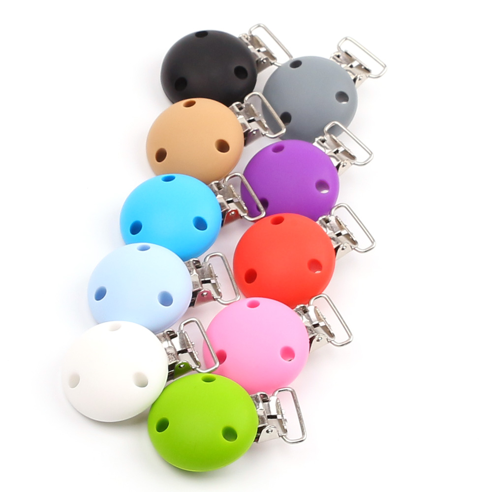 TYRY.HU 1PC Round Shaped Pacifier Clip Silicone Bead Baby Clip Teething Accessories Clip Clasps Toy DIY Pacifier Chain Tool