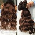 8А Класса Бразильские Волосы Девственницы Расслоения Бразильский орган Волна Волос Темно-коричневый цвет 4 Бразильской Человеческие Волосы натуральный коричневый