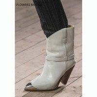 Брендовая модная женская обувь на высоком каблуке с металлическим острым носком, модель 2018 года, осенне зимние ботинки с шипами, ботильоны и
