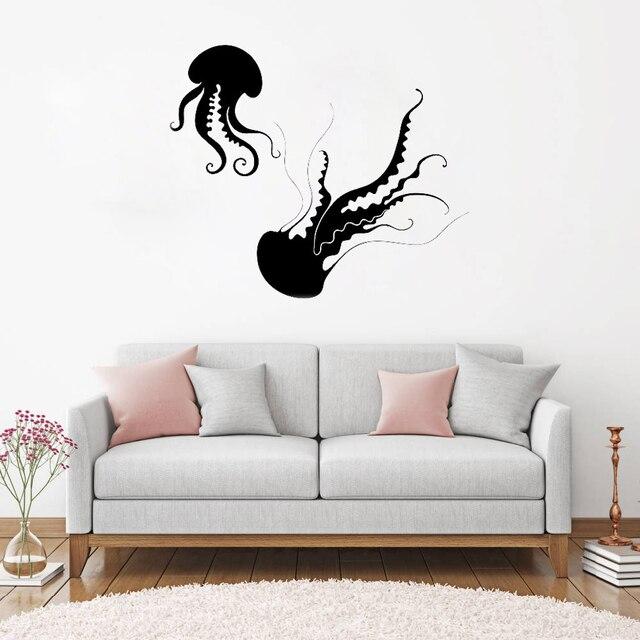 jellyfish wall stickers ocean sea marine bathroom vinyl decal unique