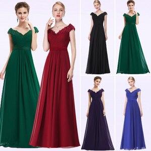 Image 1 - אמא של הכלה שמלות בתוספת גודל חדש אלגנטי קו V צוואר אפליקציות ארוך חתונת המפלגה שמלות 2020 Vestido novia מנגה