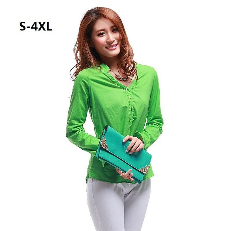 Blusa de algodón Más El Tamaño S-3XL 4XL (busto 132 cm) primavera  Nueva Moda Ca