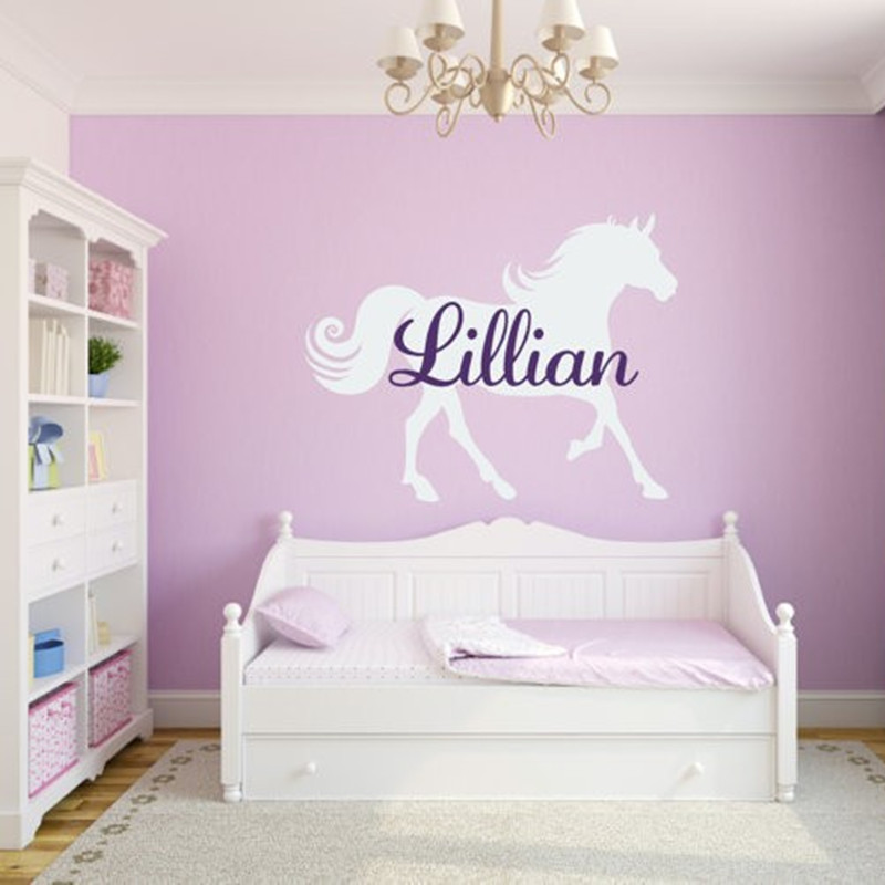 Custom Name With Horse Vinyl Wall Sticker Baby Bedroom Wall Art Decal Nursery Wall Decor DIY Home Decoration Size 56 x 73 cm-in Wall Stickers from Home ... & Custom Name With Horse Vinyl Wall Sticker Baby Bedroom Wall Art ...