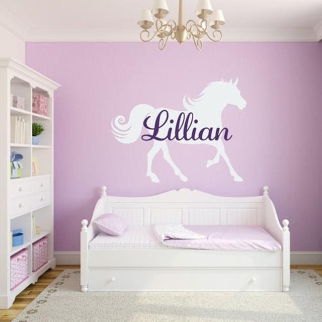 custom name with horse vinyl wall sticker baby bedroom wall art