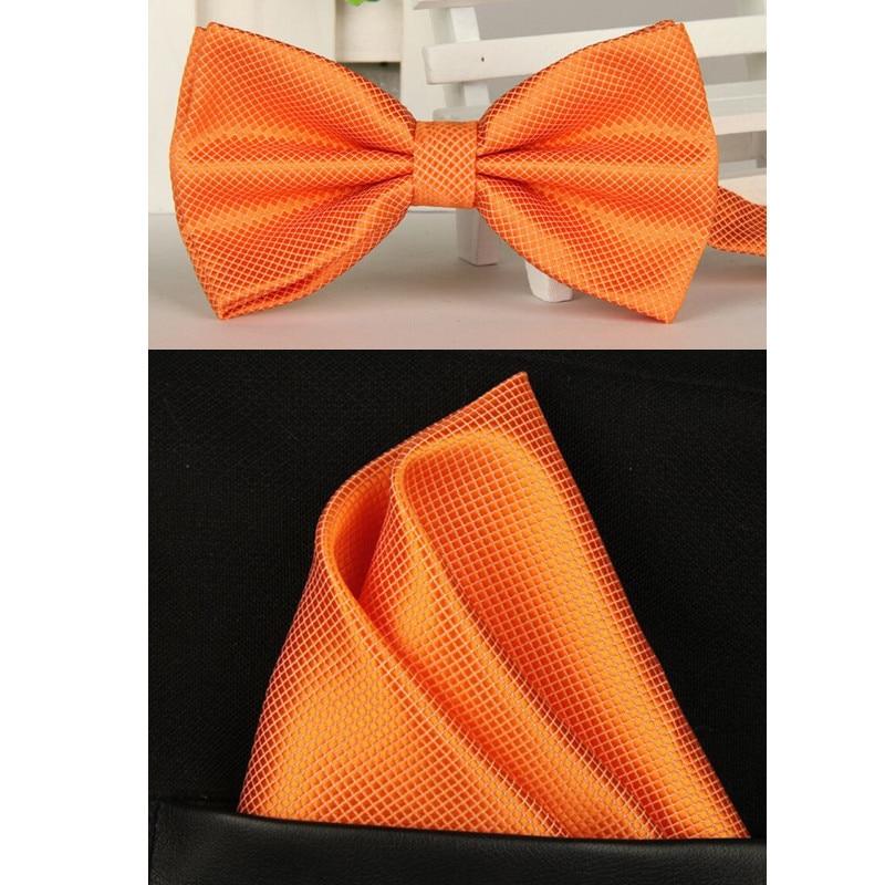 Men Orange Bow Tie Bow Tie Set