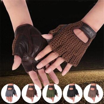 цена на Half Finger  Genuine Leather Gloves Fashion Men  Women Handmade Knit Gloves Driving Outdoor Sports 3- A088