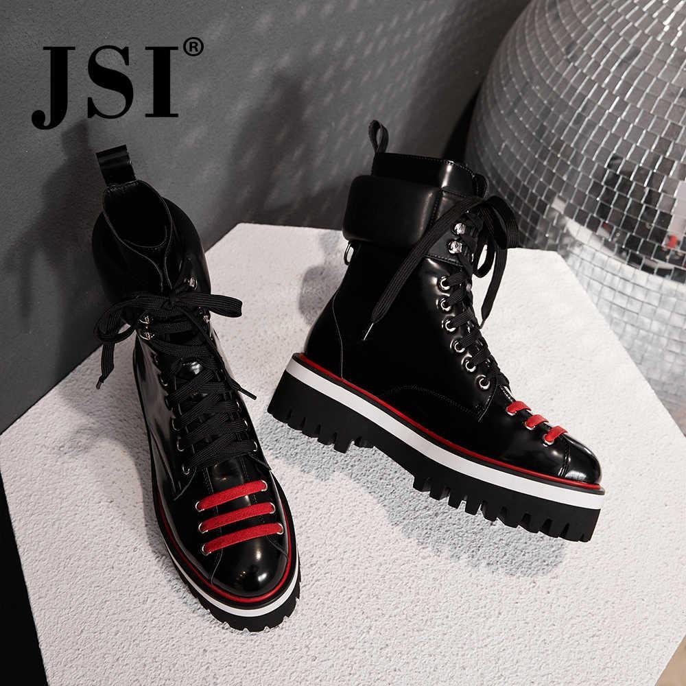 JSI Moda Yeni kadın Çizmeler Platformu Martin Çizmeler Kadın Büyük Boy Dantel-up Hakiki Deri El Yapımı Rahat kadın ayakkabısı JO218