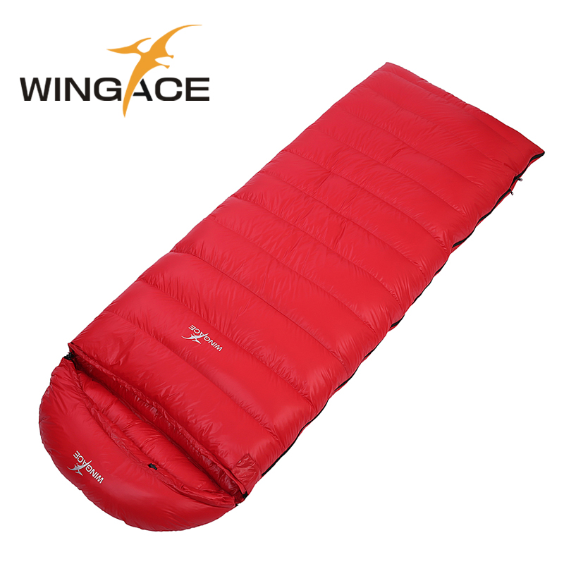 WINGACE Fill 3000G Envelope Sleeping Bag Adult Winter 400T Nylon Outdoor Camping Sleep Bag Folding Goose Down Sleeping Bags стоимость