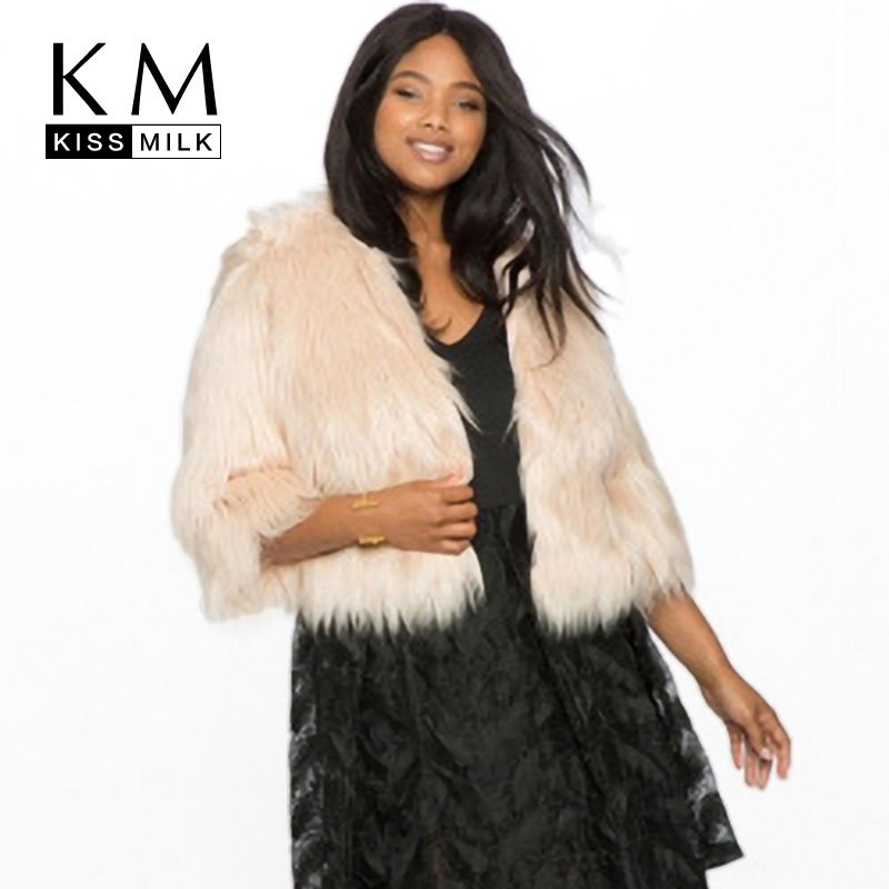 Kissmilk Plus Size Women Coat Faux Fur Coat Beige Three Quarter Single Button Party Winter Elegant Crop Outwear for Lady