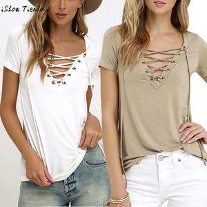 10baebee ISHOWTIENDA Blouse Cotton Tops Shirts Women Lady Clothes