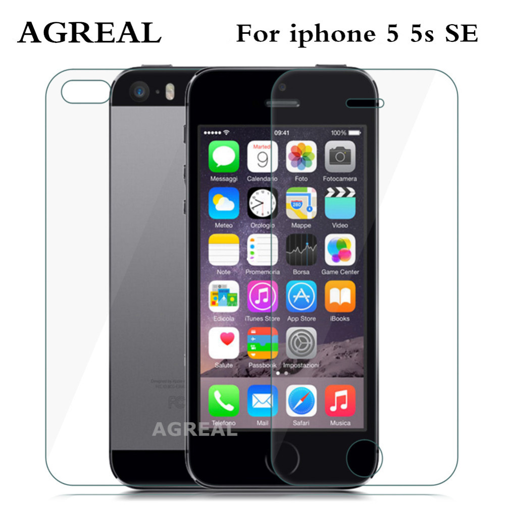 2PCS= Front Back Premium Tempered Glass for iPhone 5 SE AGREAL Anti scratch 9H 0.26mm 2.5D Screen Protector Film for iPhone 5s