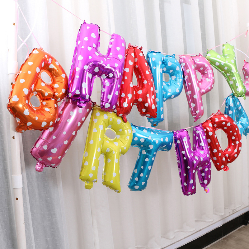 16 inch 13pcs/lot happy birthday balloons letters aluminum balloons with hanging