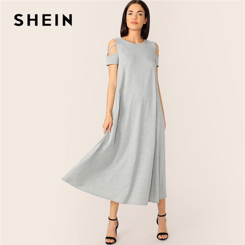 SHEIN серый скромный холодный плечо крест-накрест детали футболка Макси платье женское летнее повседневное сплошное свободное платье с заниж...