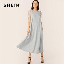 62a5404708 SHEIN szary skromne zimno ramię krzyż szczegóły koszulka sukienka w dużym  rozmiarze kobiety lato na co dzień stałe luźne spadek .