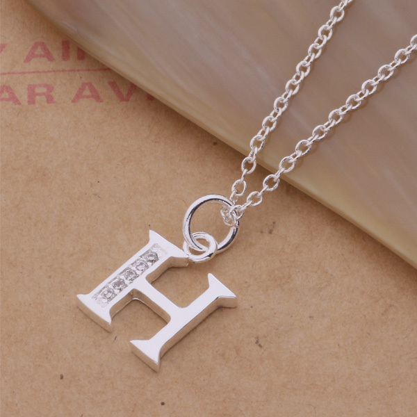 AN214 2015 Fashion Silver Letter H Pendant Necklace With Zircon Top Quality  Hot Beautiful Christmas Gift