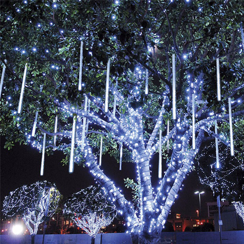 Image 3 - 30CM 50CM Meteor Shower Rain Christmas Tree Fairy Light 8 Tubes Outdoor Garden Patio Icicle Raindrop Snow Falling Light-in Holiday Lighting from Lights & Lighting on